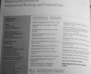 Tahir Ashraf business barrister Appointed to Editorial Board of International Banking Law Journal