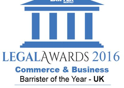Business Law - Barrister of the Year Tahir Ashraf 2016 LAWYER MONTHLY LEGAL AWARDS Commerce and Business Category