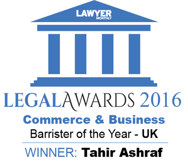 Business Law Barrister Tahir Ashraf Wins Lawyer Monthly Legal Awards 2016