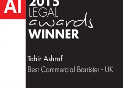 AI 2015 LEGAL AWARDS Best Commercial Barrister - UK