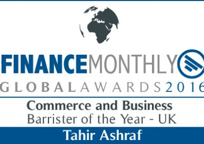 Commerce and Business Barrister of the Year UK Finance Monthly Global Awards 2016 Winner Tahir Ashraf